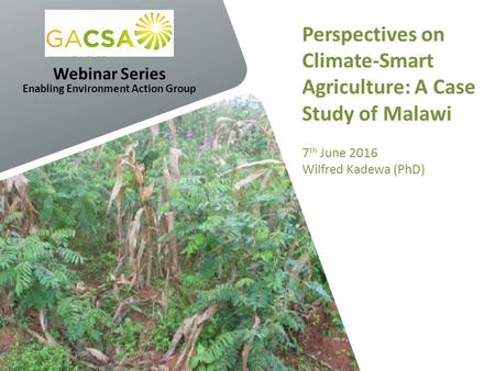 Perspectives on Climate-Smart Agriculture: A Case Study of Malawi 7 th June 2016 Wilfred Kadewa (PhD) Webinar Series Enabling Environment Action Group.