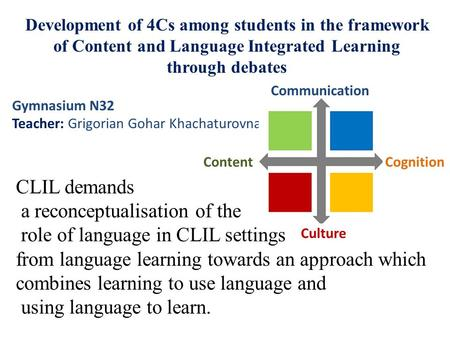Development of 4Cs among students in the framework of Content and Language Integrated Learning through debates CLIL demands a reconceptualisation of the.