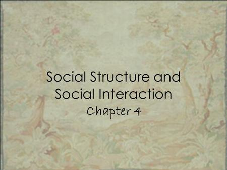 Social Structure and Social Interaction Chapter 4.