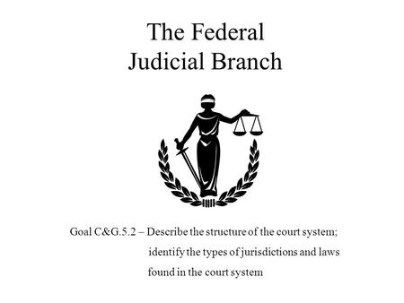 The Federal Judicial Branch Goal C&G.5.2 – Describe the structure of the court system; identify the types of jurisdictions and laws found in the court.