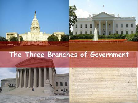 The Three Branches of Government. The Legislative Branch Separation of Powers—the division of government into distinct areas with different braches.