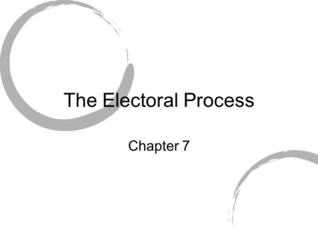 The Electoral Process Chapter 7. Important things to know 1.Nominating Process 2.Elections 3.The Money a)Hard and soft money $$$$