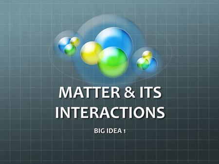 MATTER & ITS INTERACTIONS BIG IDEA 1. WHAT IS PHYSICAL SCIENCE? The study of what things are made of and how they change.