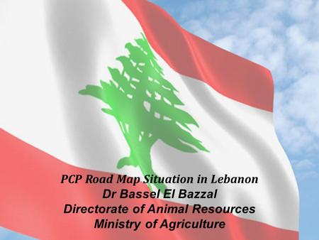 Animal Health Department Dr. Ali El Romeh PCP Road Map Situation in Lebanon Dr Bassel El Bazzal Directorate of Animal Resources Ministry of Agriculture.