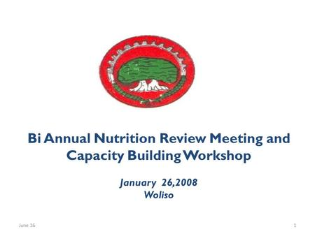 Bi Annual Nutrition Review Meeting and Capacity Building Workshop January 26,2008 Woliso June 161.