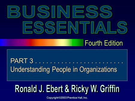 Fourth Edition Copyright ©2003 Prentice Hall, Inc. PART 3........................ Understanding People in Organizations.