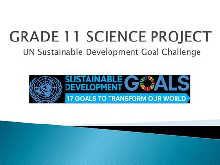 UN Sustainable Development Goal Challenge.  Each of you has been assigned to a group distinguished by letter (A, B, etc).  Lists are available in the.