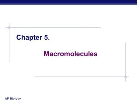 AP Biology 2005-2006 Chapter 5. Macromolecules. AP Biology 2005-2006 Macromolecules  Smaller organic molecules join together to form larger molecules.