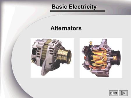 Basic Electricity END Alternators. 2 WHAT DOES AN ALTERNATOR DO? -IT GENERATES ELECTRICAL CURRENT -IT CONVERTS ALTERNATING CURRENT TO DIRECT CURRENT -IT.