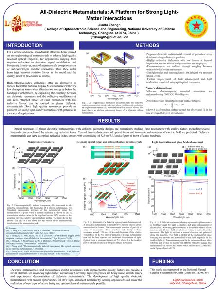 All-Dielectric Metamaterials: A Platform for Strong Light- Matter Interactions Jianfa Zhang* ( College of Optoelectronic Science and Engineering, National.