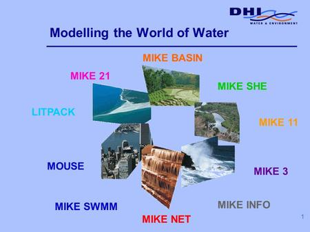 1 Modelling the World of Water MOUSE MIKE 21 MIKE BASIN MIKE SHE MIKE 11 MIKE 3 MIKE INFO LITPACK MIKE SWMM MIKE NET.