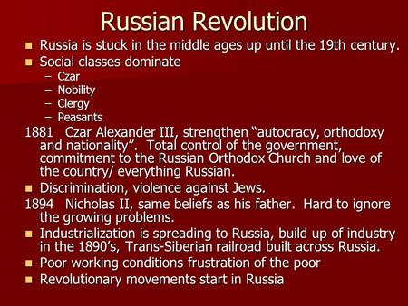 Until The Russian Revolution Of 36