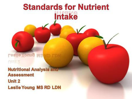 Your Dietary Standards Common standards for evaluating nutrient intake –Dietary Reference Intakes –Dietary Guidelines for Americans –Regulations governing.