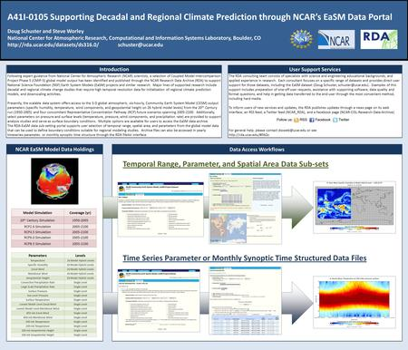 A41I-0105 Supporting Decadal and Regional Climate Prediction through NCAR's EaSM Data Portal Doug Schuster and Steve Worley National Center for Atmospheric.