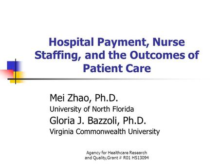 Agency for Healthcare Research and Quality,Grant # R01 HS13094 Hospital Payment, Nurse Staffing, and the Outcomes of Patient Care Mei Zhao, Ph.D. University.