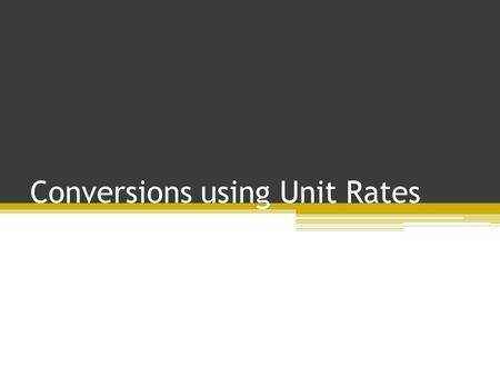 Conversions using Unit Rates Joanne Smithies Our Lady & St. Gerards RCP.