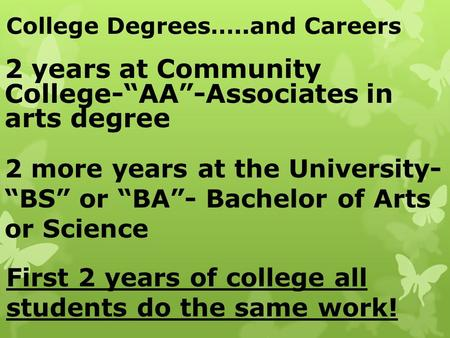 "College Degrees…..and Careers 2 years at Community College-""AA""-Associates in arts degree 2 more years at the University- ""BS"" or ""BA""- Bachelor of Arts."