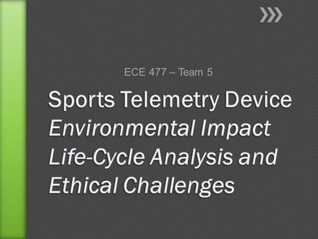ECE 477 – Team 5. »We are designing a wireless telemetry system that measures translational and angular accelerations experienced by athletes and stores.