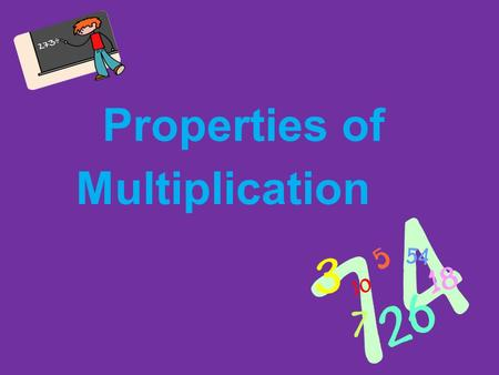 Properties of Multiplication What are Properties? o Just like addition and subtraction, the operation of multiplication has different properties, or.