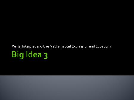 Write, Interpret and Use Mathematical Expression and Equations.