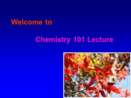 Welcome to Chemistry 101 Lecture. About Your Instructor Name: Qiquan (Joshua) Wang   Phone: 857-6548 (lab), 857-6547.