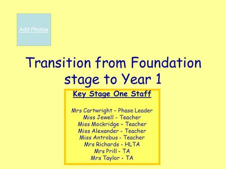 Transition from Foundation stage to Year 1 Key Stage One Staff Mrs Cartwright – Phase Leader Miss Jewell - Teacher Miss Mockridge – Teacher Miss Alexander.