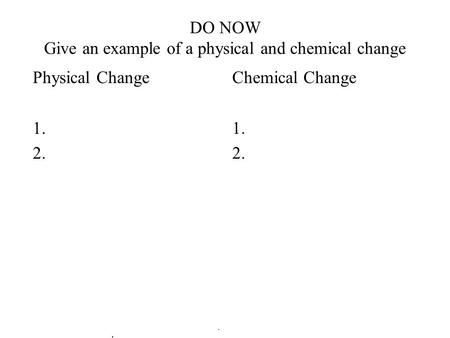 DO NOW Give an example of a physical and chemical change Physical Change 1. 2. Chemical Change 1. 2.