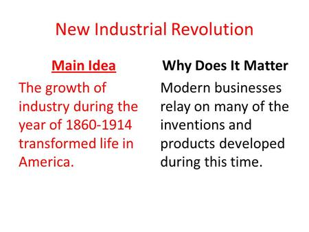 New Industrial Revolution Main Idea The growth of industry during the year of 1860-1914 transformed life in America. Why Does It Matter Modern businesses.