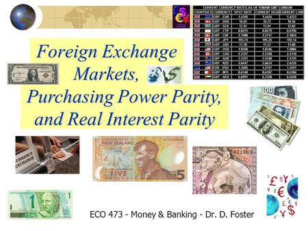 Foreign Exchange Markets, ECO 473 - Money & Banking - Dr. D. Foster Purchasing Power Parity, and Real Interest Parity.