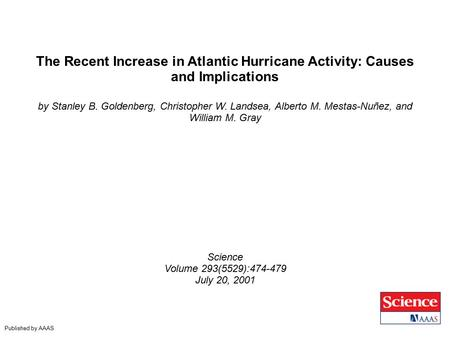 The Recent Increase in Atlantic Hurricane Activity: Causes and Implications by Stanley B. Goldenberg, Christopher W. Landsea, Alberto M. Mestas-Nuñez,