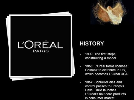 - 1909: The first steps, constructing a model - 1953: L'Oréal forms licensee Cosmair to distribute in US, which becomes L'Oréal USA. - 1957: Schueller.