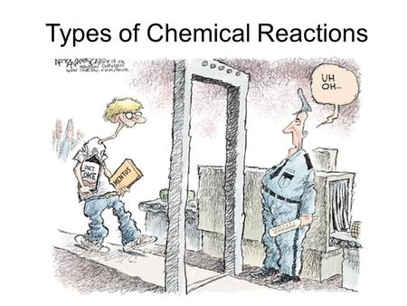 Types of Chemical Reactions. Evidence of Chemical Reactions 1.Change in colour 2.Change in odour 3.Formation of a gas 4.Formation of a precipitate 5.Release.