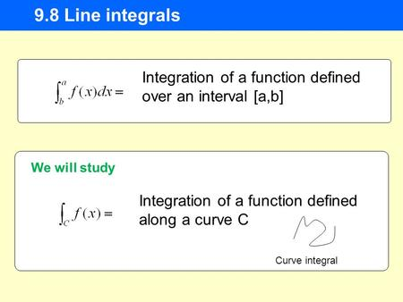 9.8 Line integrals Integration of a function defined over an interval [a,b] Integration of a function defined along a curve C We will study Curve integral.