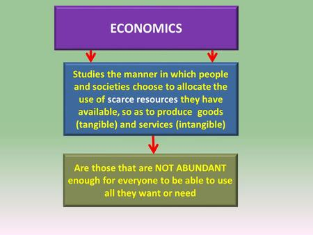 ECONOMICS Are those that are NOT ABUNDANT enough for everyone to be able to use all they want or need Studies the manner in which people and societies.