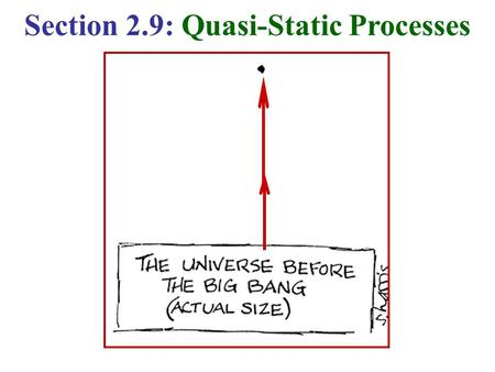 Section 2.9: Quasi-Static Processes. The discussion so far has been general concerning 2 systems A & A' interacting with each other. Now, we consider.