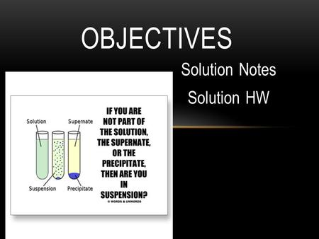 Solution Notes Solution HW OBJECTIVES. HETEROGENEOUS MIXTURES Contain substances that exist in distinct phases. Two types are heterogeneous mixtures are.