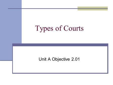 Types of Courts Unit A Objective 2.01. 2 Dual Court System Federal Court System State Court System.