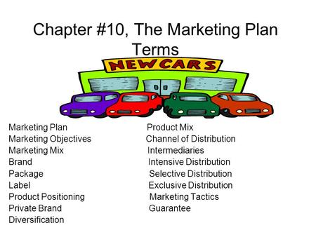 Chapter #10, The Marketing Plan Terms Marketing Plan Product Mix Marketing Objectives Channel of Distribution Marketing Mix Intermediaries Brand Intensive.