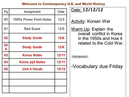 Date: 12/12/12 Activity: Korean War Warm Up: Explain the overall conflict in Korea in the 1950s and how it related to the Cold War. -Homework: -Vocabulary.