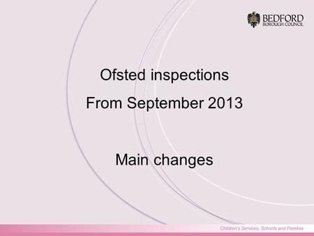 Ofsted inspections From September 2013 Main changes.