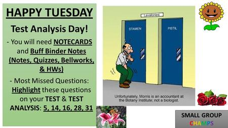 HAPPY TUESDAY Test Analysis Day! -You will need NOTECARDS and Buff Binder Notes (Notes, Quizzes, Bellworks, & HWs) -Most Missed Questions: Highlight these.