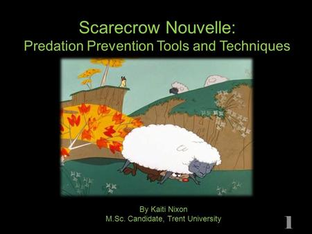 Scarecrow Nouvelle: Predation Prevention Tools and Techniques By Kaiti Nixon M.Sc. Candidate, Trent University 1.