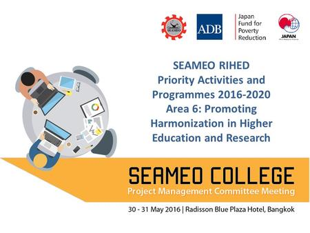 SEAMEO RIHED Priority Activities and Programmes 2016-2020 Area 6: Promoting Harmonization in Higher Education and Research.