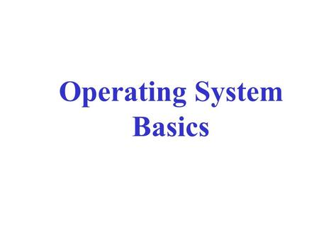 Operating System Basics. Outline The User Interface Running Programs Managing Files Managing Hardware Utility Software.