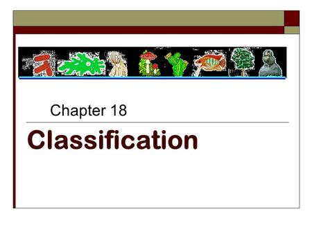 Classification Chapter 18. 18.1 Finding Order in Diversity.