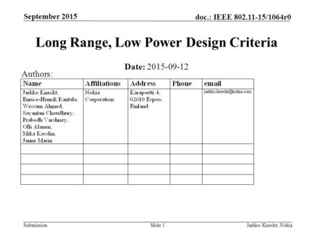 Submission doc.: IEEE 802.11-15/1064r0 September 2015 Jarkko Kneckt, NokiaSlide 1 Long Range, Low Power Design Criteria Date: 2015-09-12 Authors: