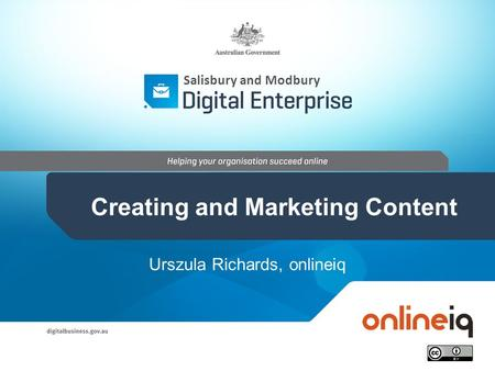 Urszula Richards, onlineiq Salisbury and Modbury Creating and Marketing Content.