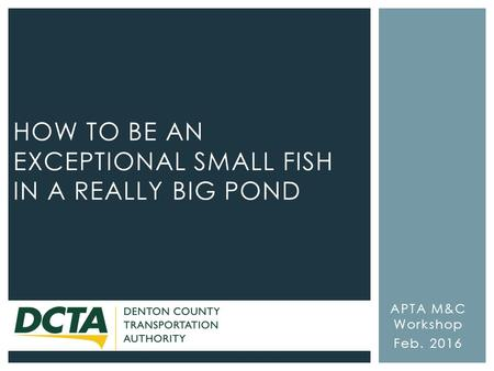 APTA M&C Workshop Feb. 2016 HOW TO BE AN EXCEPTIONAL SMALL FISH IN A REALLY BIG POND.