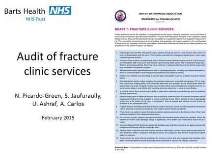 Audit of fracture clinic services N. Picardo-Green, S. Jaufuraully, U. Ashraf, A. Carlos February 2015.