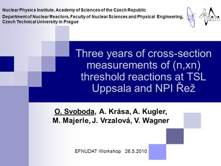 Three years of cross-section measurements of (n,xn) threshold reactions at TSL Uppsala and NPI Řež O. Svoboda, A. Krása, A. Kugler, M. Majerle, J. Vrzalová,